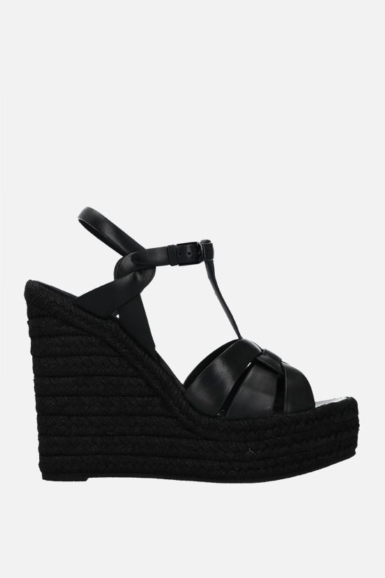 SAINT LAURENT: Tribute smooth leather wedge sandals Color Black_1