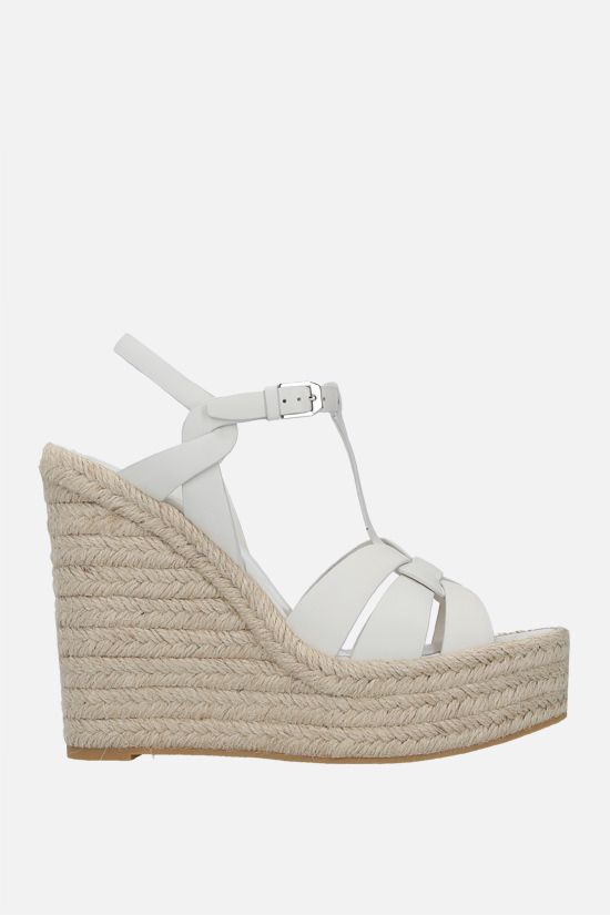 SAINT LAURENT: Tribute smooth leather wedge sandals Color White_1