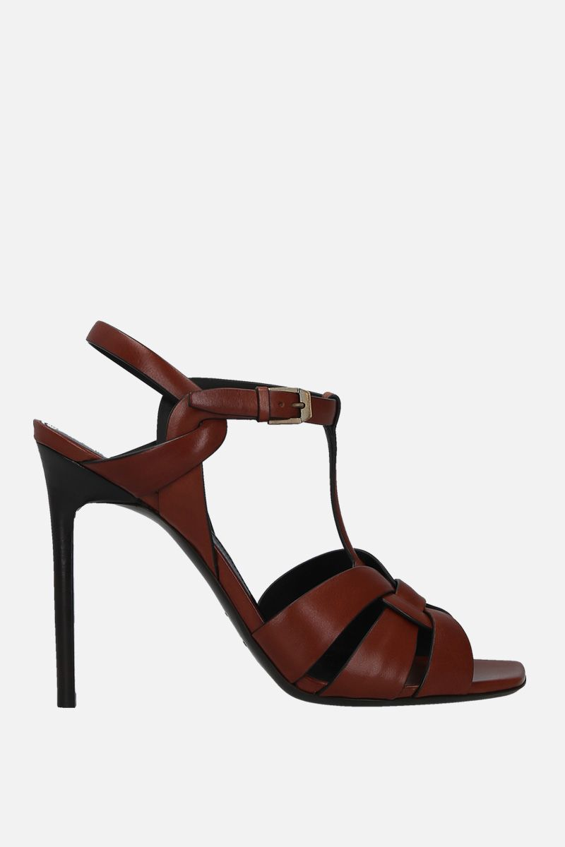 SAINT LAURENT: Tribute smooth leather sandals Color Brown_1