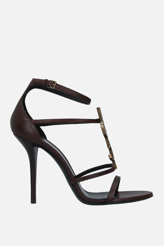 SAINT LAURENT: Cassandra smooth leather sandals Color Brown_1
