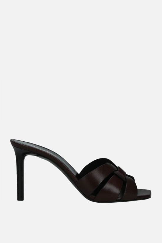 SAINT LAURENT: Tribute smooth leather mule sandals Color Brown_1