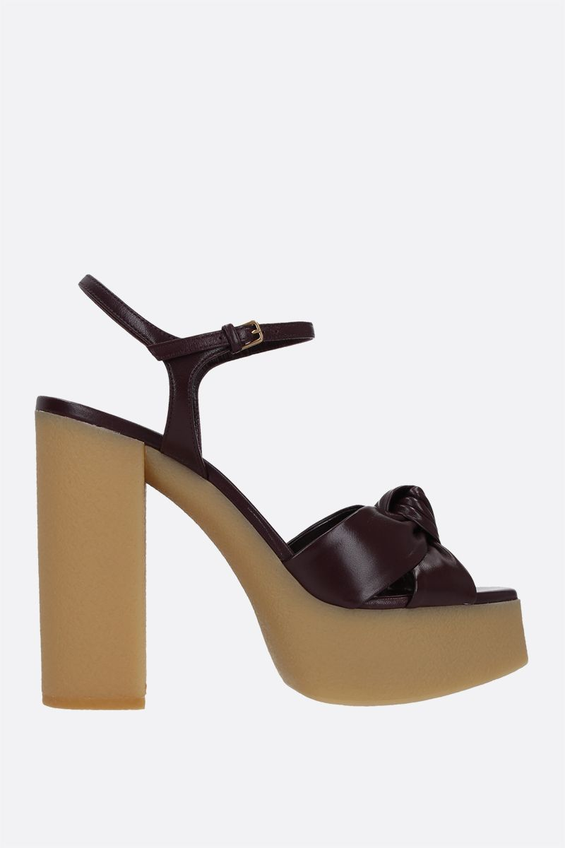 SAINT LAURENT: Bianca smooth leather sandals Color Red_1
