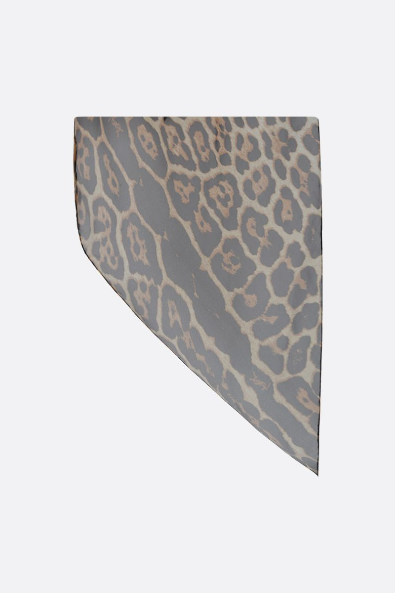 SAINT LAURENT: leopard print silk foulard Color Animalier_1
