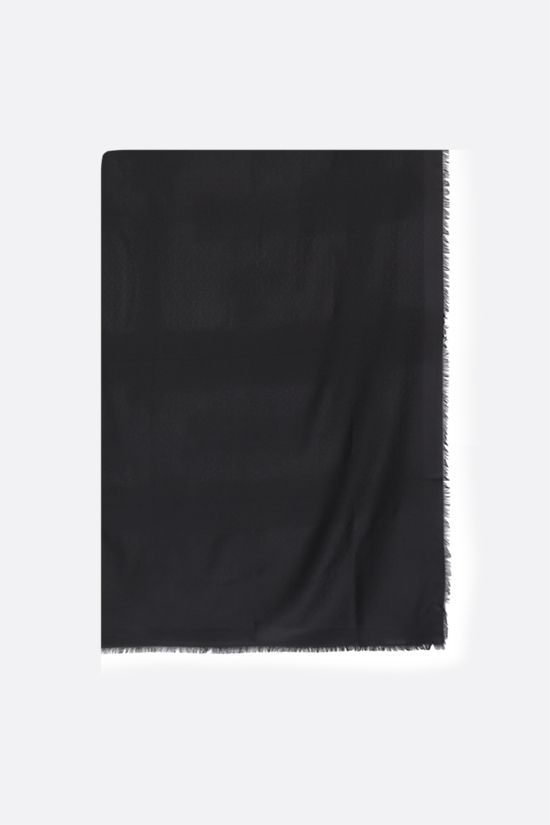 SAINT LAURENT: interlocking YSL signature-detailed silk wool blend scarf Color Black_1