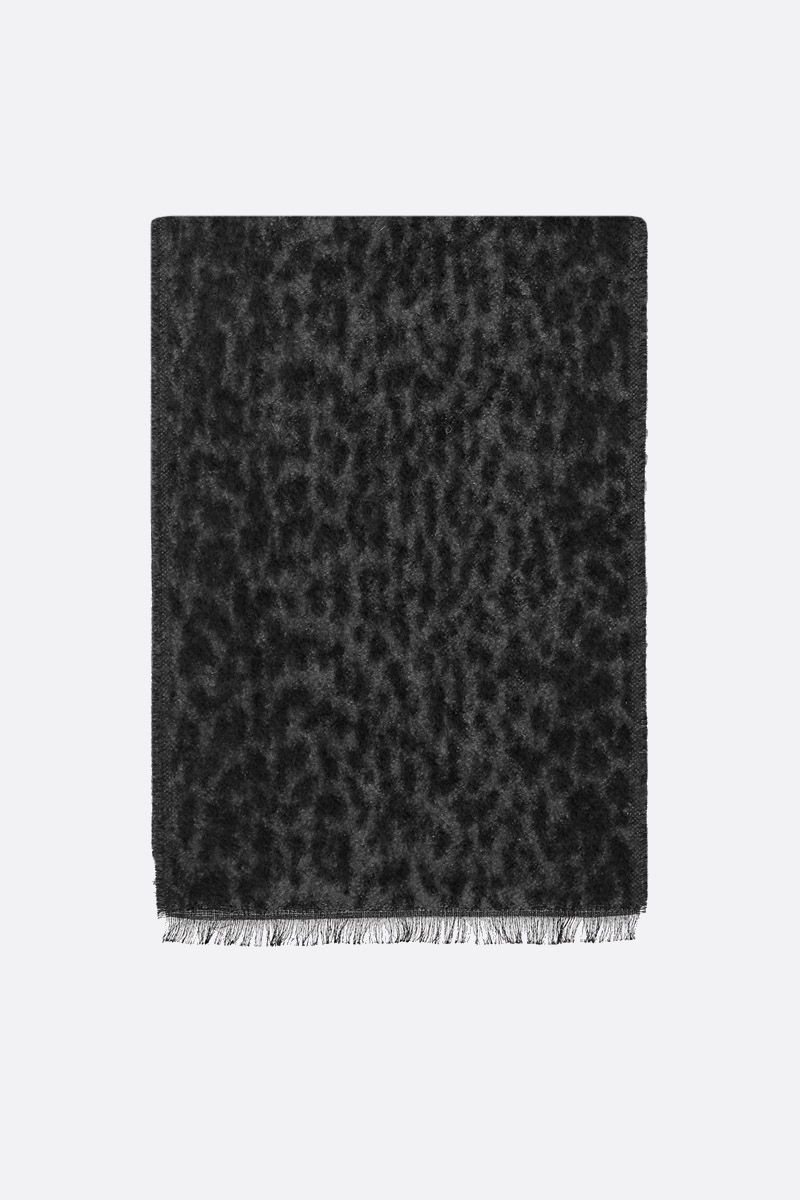 SAINT LAURENT: leopard mohair cotton blend scarf Color Black_1