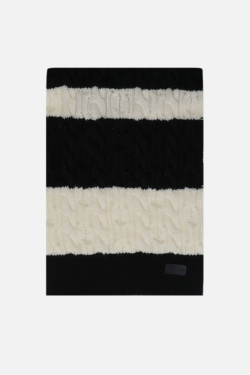 SAINT LAURENT: bicolor wool knit scarf Color Black_1