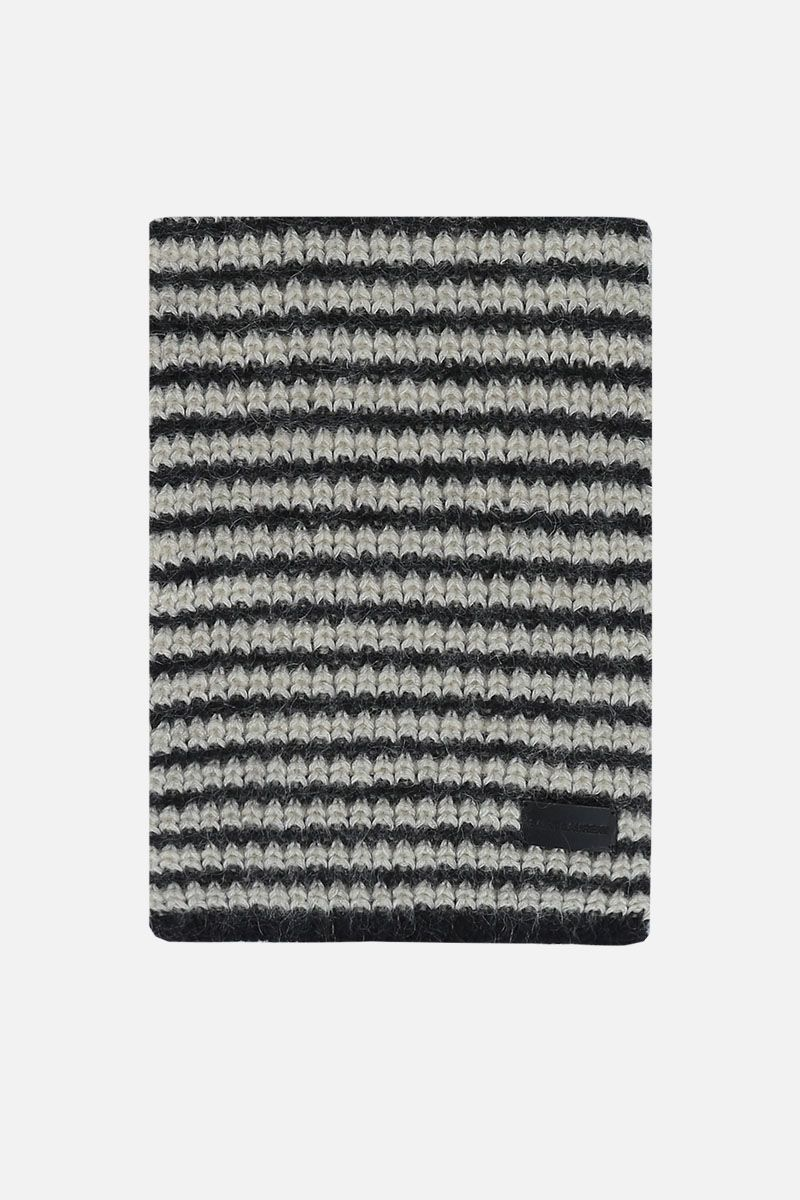 SAINT LAURENT: striped wool mohair blend scarf Color Black_1