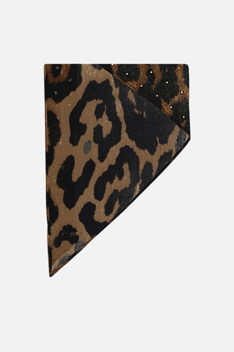 SAINT LAURENT: leopard print wool lavallière scarf Color Animalier_1