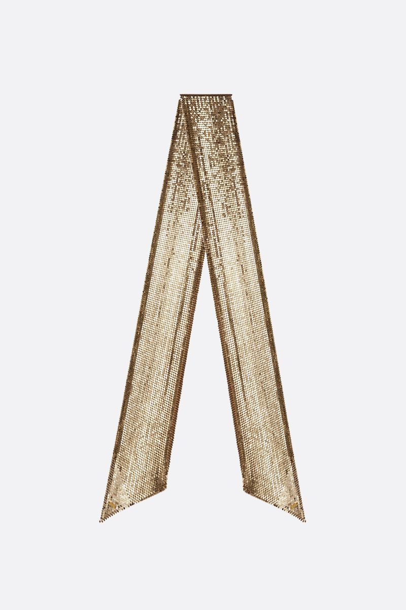 SAINT LAURENT: metal mesh lavallière scarf Color Gold_1