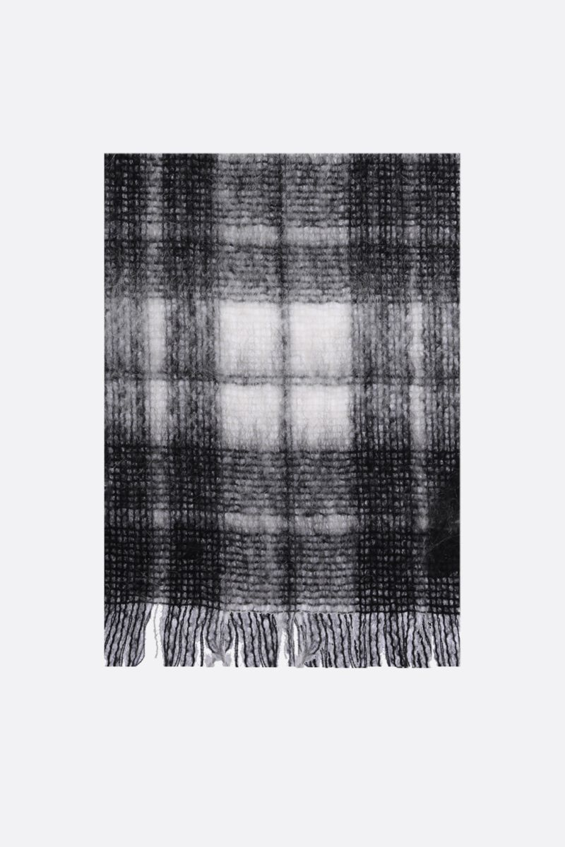 SAINT LAURENT: check mohair wool blend scarf Color White_1