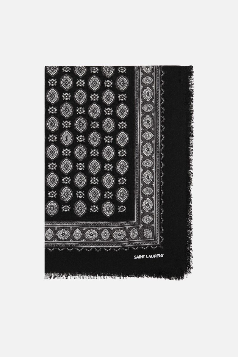 SAINT LAURENT: cashmere silk twill shawl Color Black_1