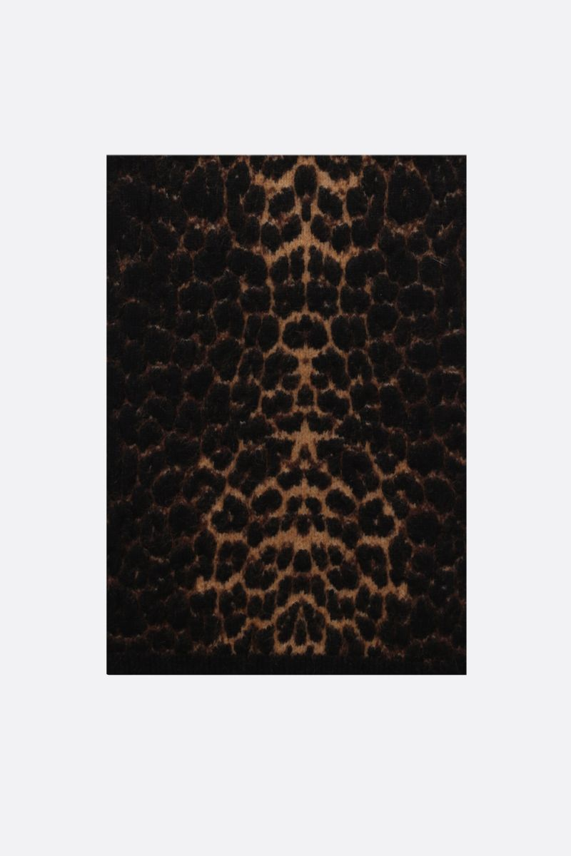 SAINT LAURENT: leopard-motif wool mohair blend scarf Color Multicolor_1