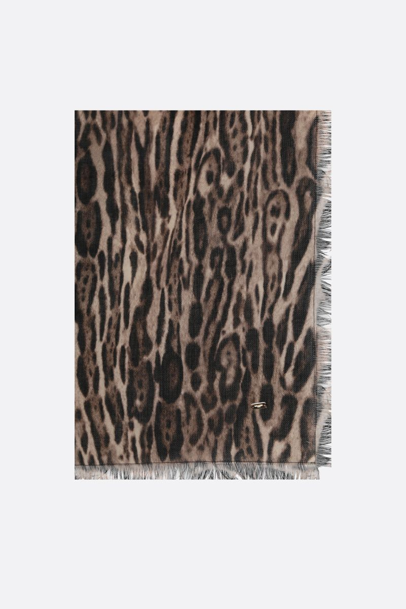 SAINT LAURENT: leopard-motif wool twill shawl Color Multicolor_1