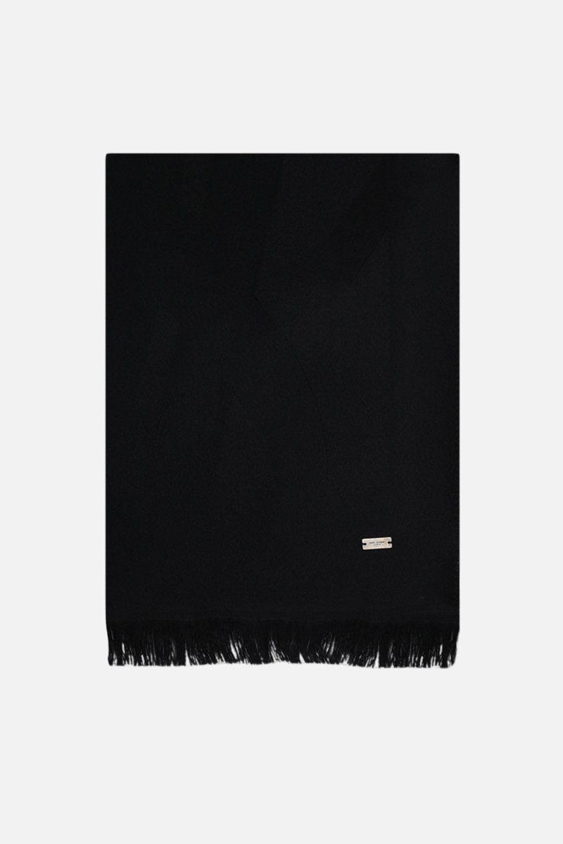 SAINT LAURENT: YSL-detailed wool scarf Color Black_1