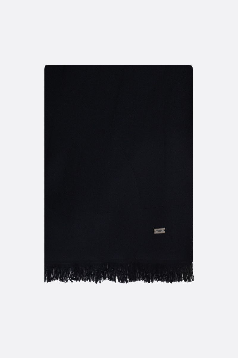 SAINT LAURENT: YSL-detailed wool scarf Color Blue_1