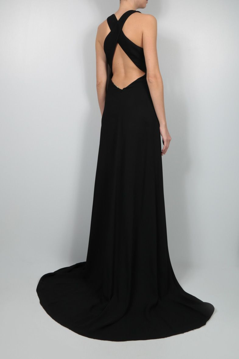 ROBERTO CAVALLI: emblem-detailed cady evening gown Color Black_2