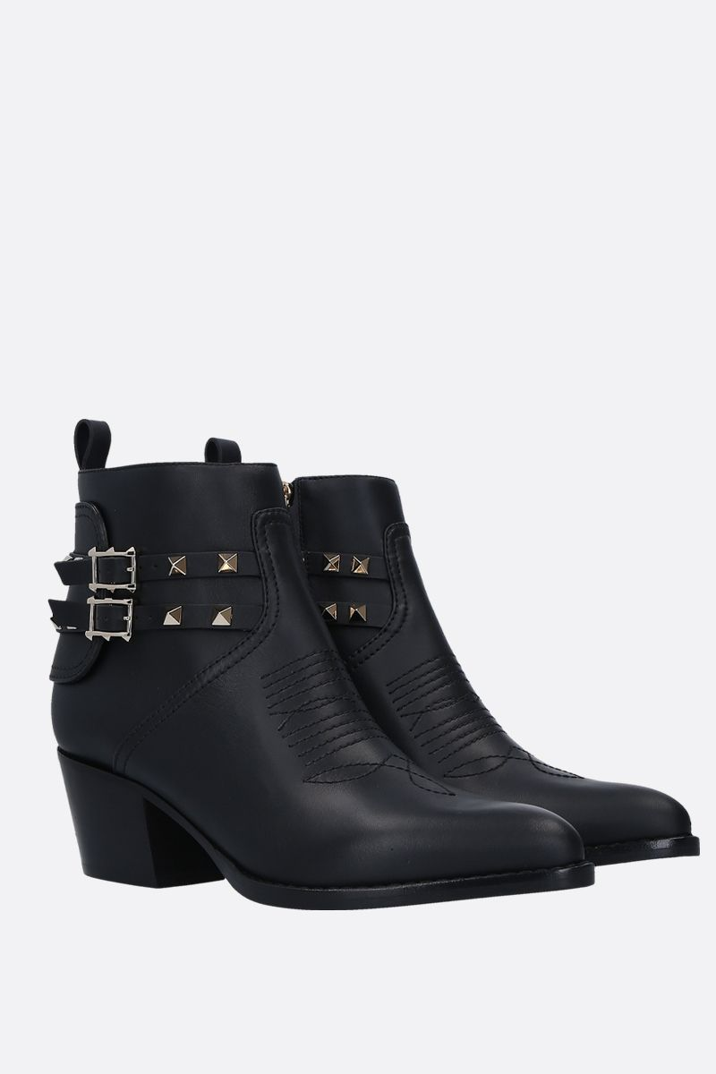 VALENTINO GARAVANI: Rockstud western boots in smooth leather_2
