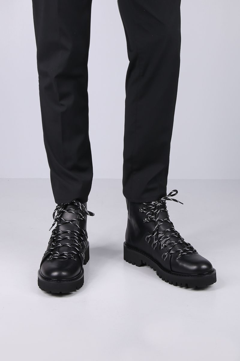 VALENTINO GARAVANI: VLOGO hiking boots in smooth leather Color Black_2