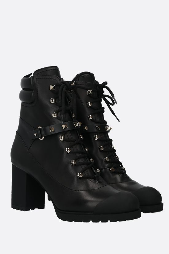 VALENTINO GARAVANI: Rockstud smooth leather lace-up boots Color Black_2