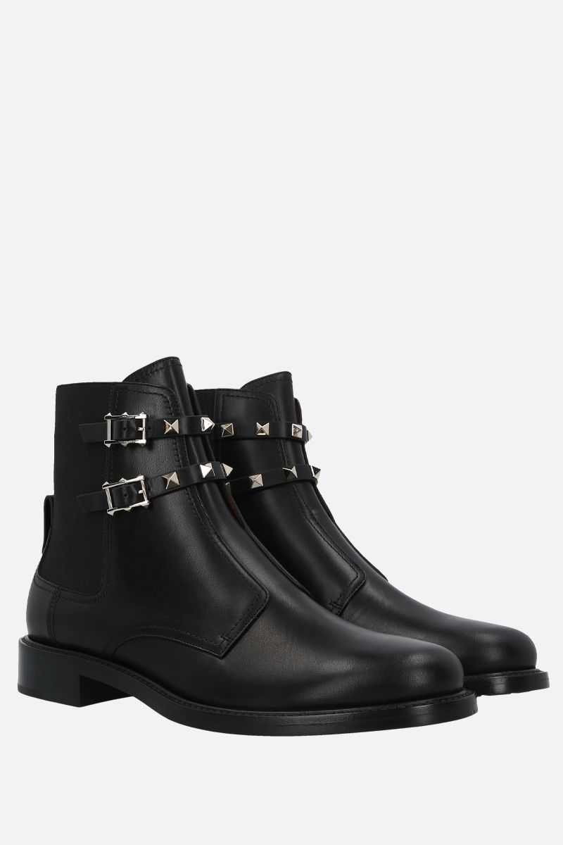 VALENTINO GARAVANI: Rockstud smooth leather ankle boots Color Black_2
