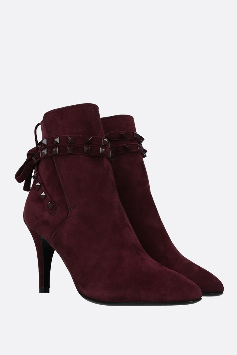 VALENTINO GARAVANI: Rockstud velvet suede booties Color Red_2