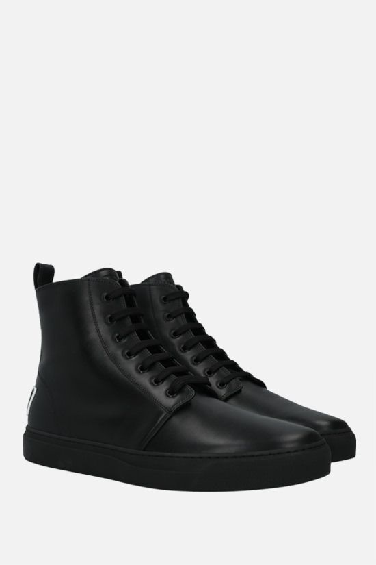 VALENTINO GARAVANI: VLTN tag smooth leather lace-up boots Color Black_2
