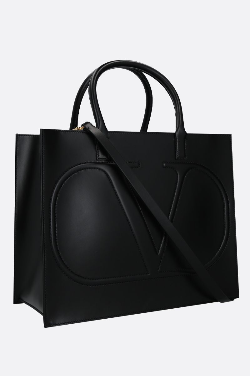 VALENTINO GARAVANI: VLOGO WALK medium shiny leather tote bag Color Black_2