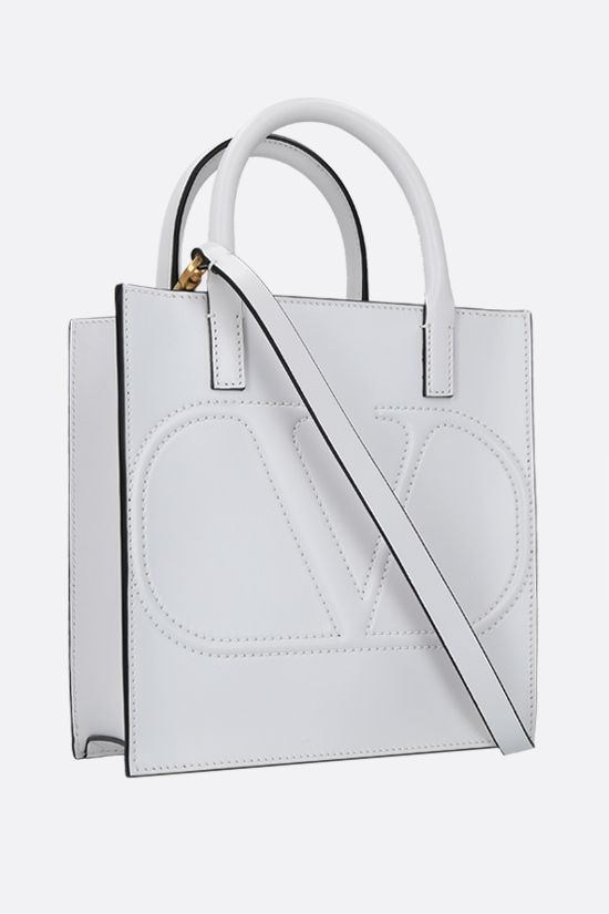 VALENTINO GARAVANI: VLOGO WALK small shiny leather tote bag Color White_2