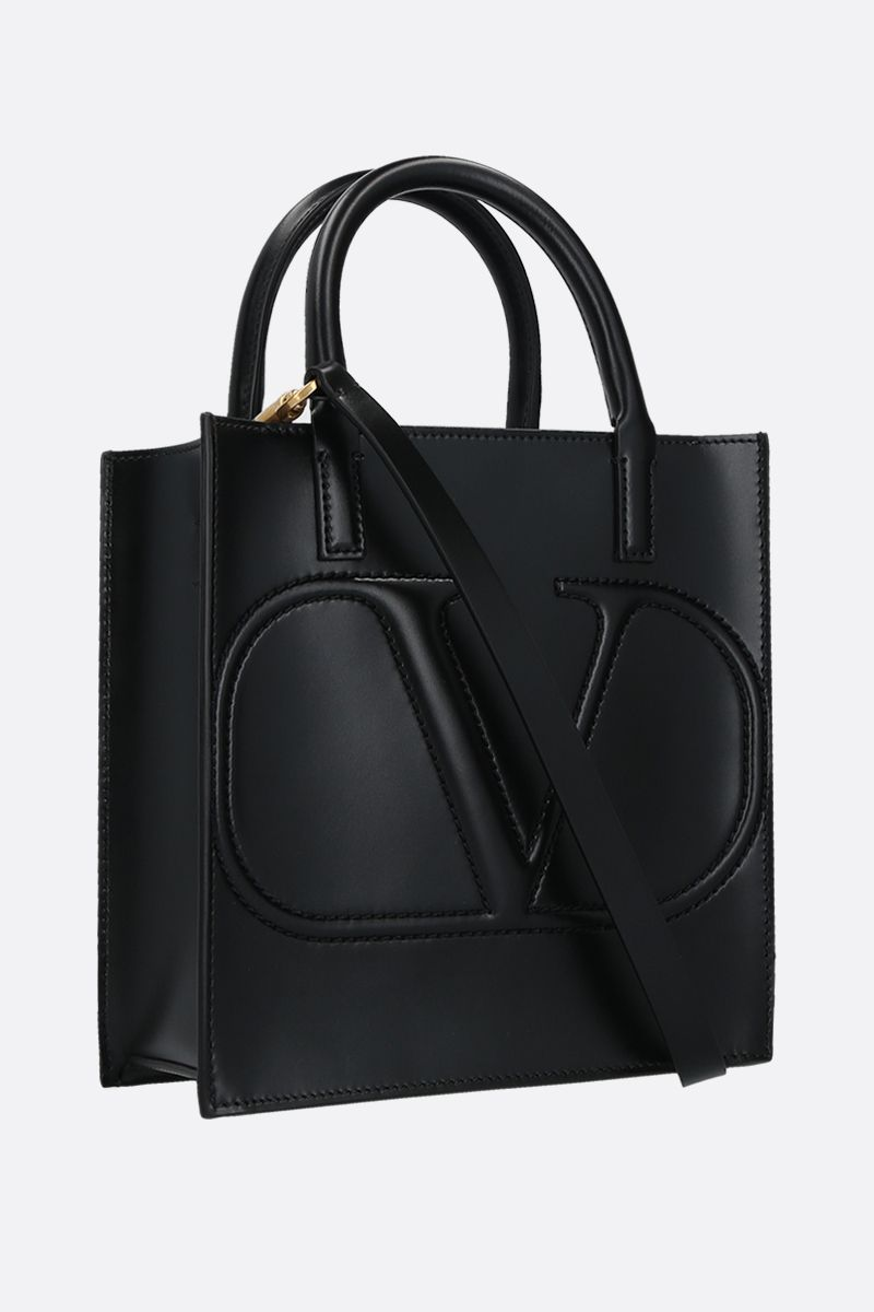 VALENTINO GARAVANI: VLOGO WALK small shiny leather tote bag Color Black_2