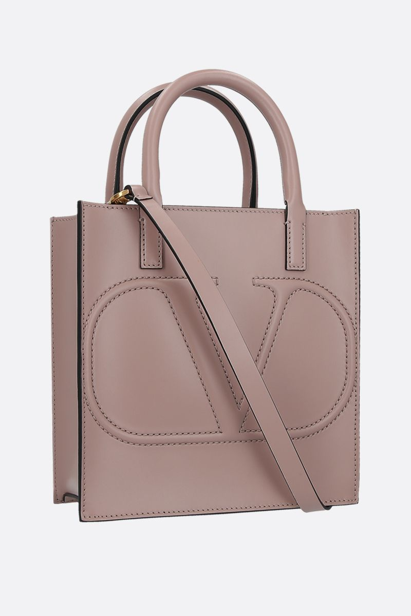 VALENTINO GARAVANI: VLOGO WALK small shiny leather tote bag Color Pink_2