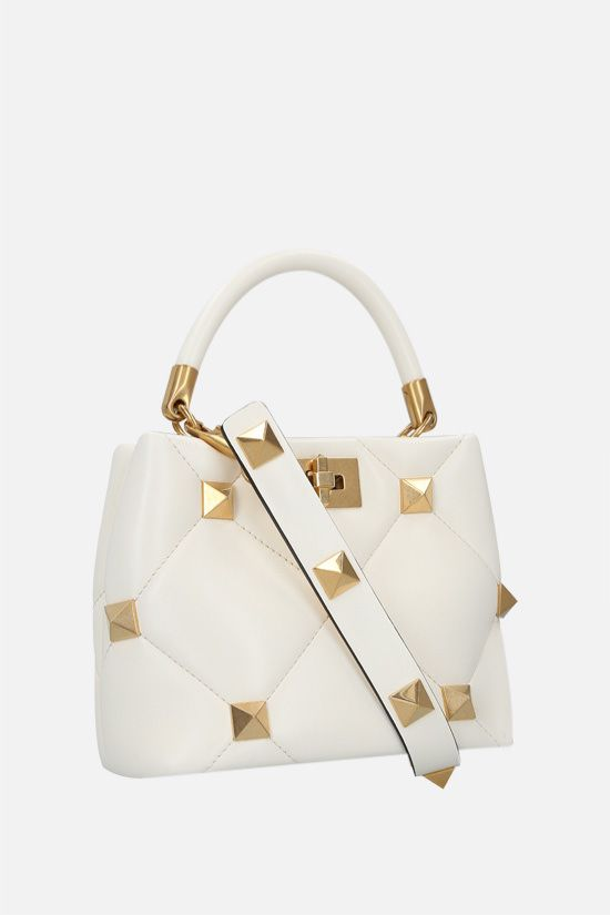 VALENTINO GARAVANI: Roman Stud The Handle Bag small quilted nappa handbag Color White_2