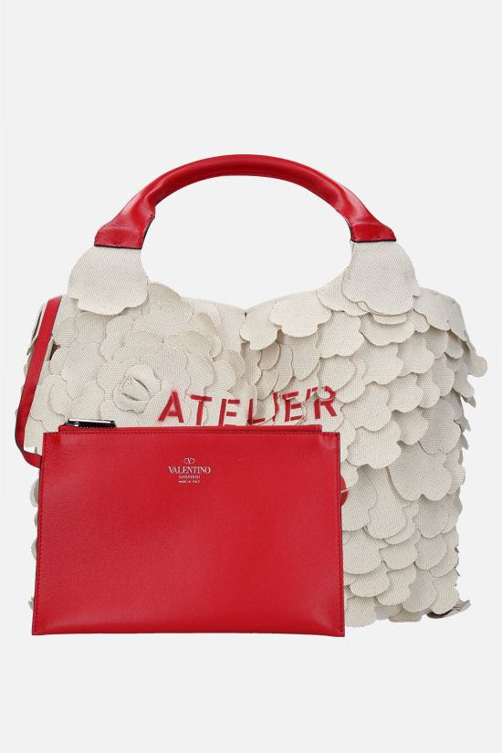 VALENTINO GARAVANI: tote small Atelier Bag 03 Rose Edition in canvas Colore Neutro_2