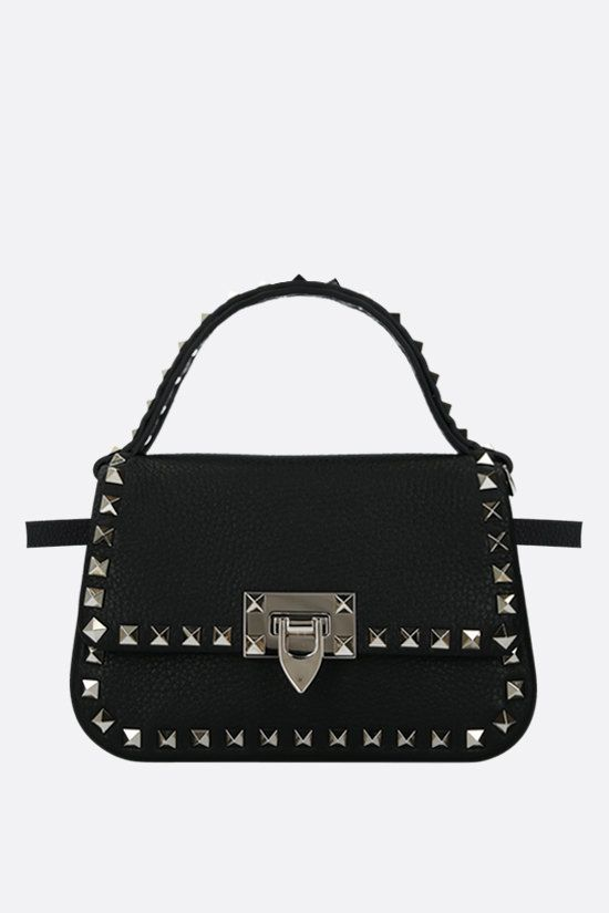 VALENTINO GARAVANI: Rockstud small grainy leather handbag Color Black_2