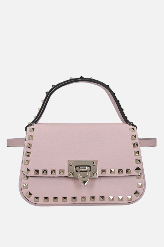 VALENTINO GARAVANI: Rockstud small grainy leather handbag Color Pink_2