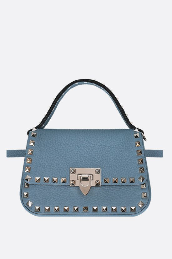 VALENTINO GARAVANI: Rockstud small grainy leather handbag Color Blue_2