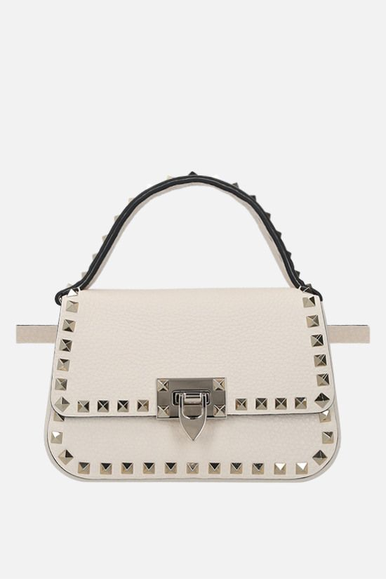 VALENTINO GARAVANI: Rockstud small grainy leather handbag Color Neutral_2