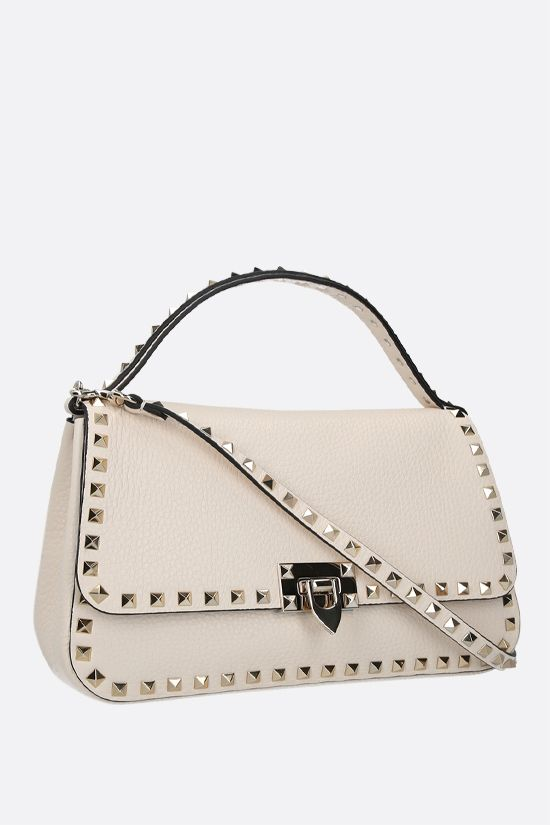 VALENTINO GARAVANI: Rockstud medium grainy leather handbag Color Neutral_2
