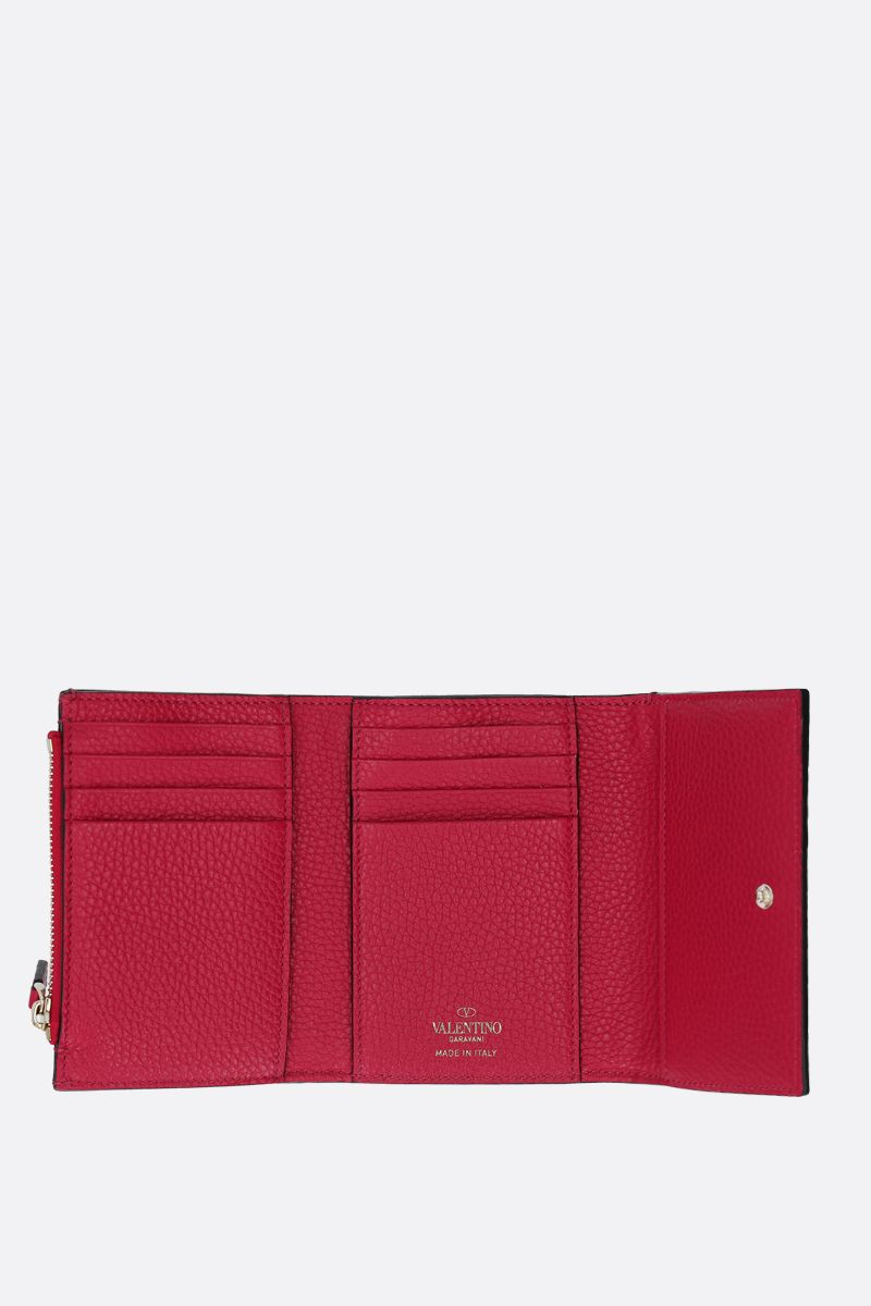 VALENTINO GARAVANI: Rockstud moose embossed leather flap wallet_2