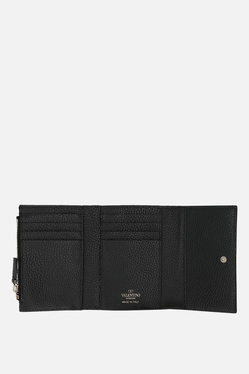 VALENTINO GARAVANI: Rockstud flap wallet in moose embossed leather Color Black_2