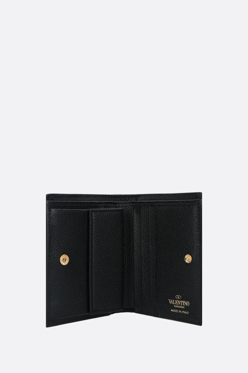 VALENTINO GARAVANI: VLOGO grainy leather french wallet Color Black_2