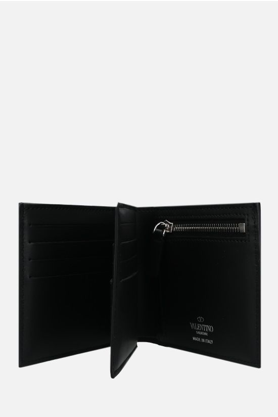 VALENTINO GARAVANI: VLTN smooth leather trifold wallet Color Black_2