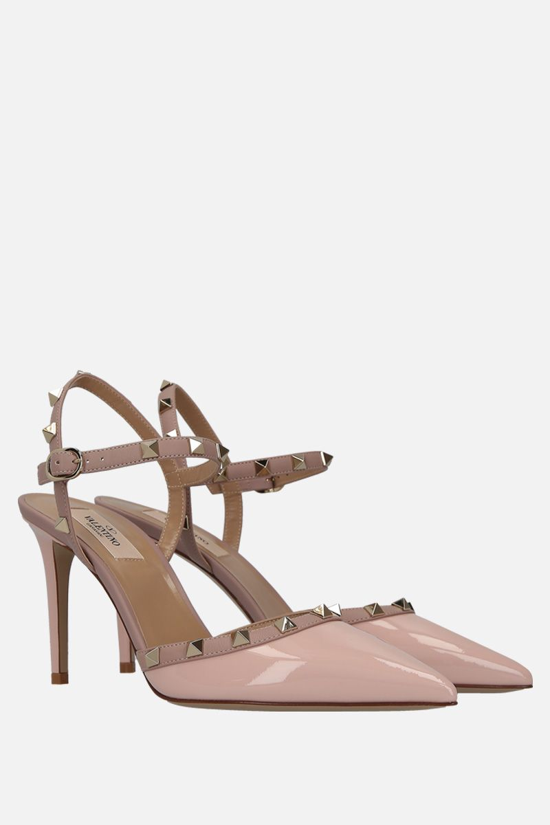 VALENTINO GARAVANI: Rockstud slingbacks in patent and smooth leather Color Pink_2