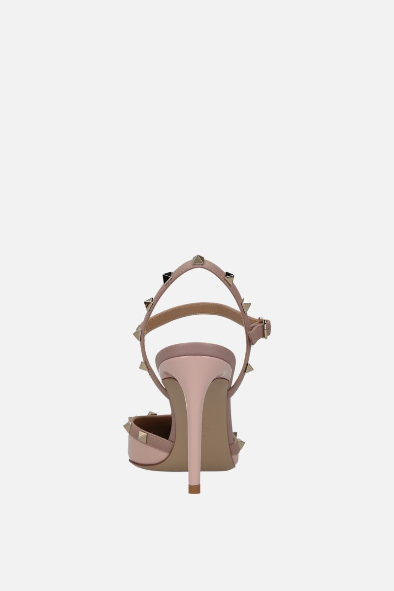 VALENTINO GARAVANI: Rockstud slingbacks in patent and smooth leather Color Pink_3