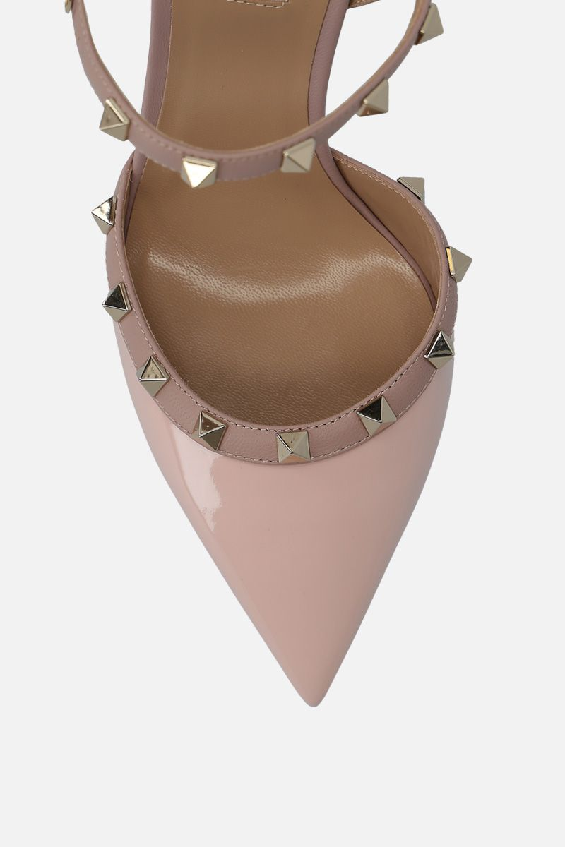 VALENTINO GARAVANI: Rockstud slingbacks in patent and smooth leather Color Pink_4
