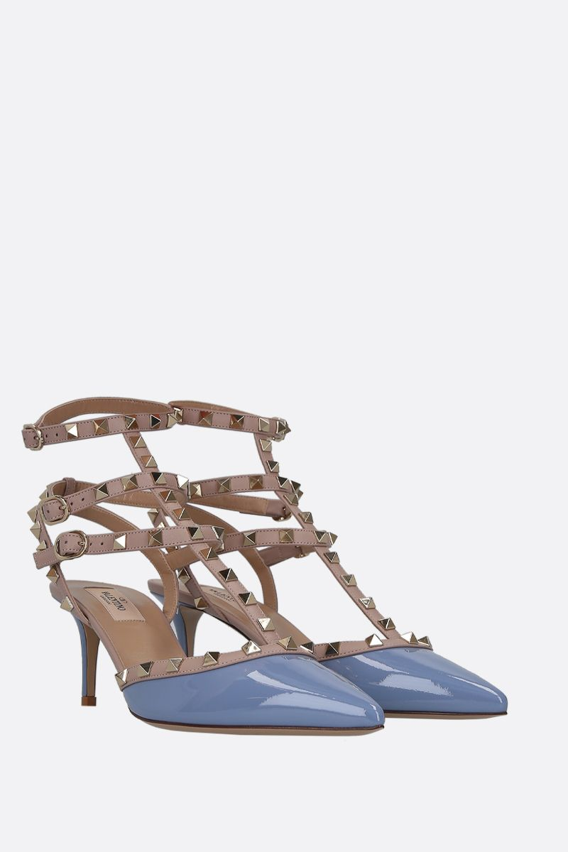 VALENTINO GARAVANI: Rockstud patent and smooth leather slingbacks Color Blue_2