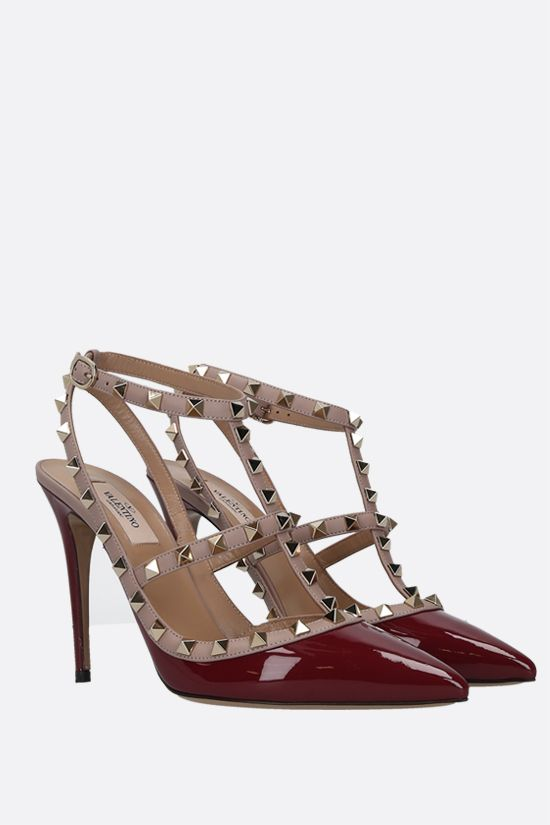 VALENTINO GARAVANI: Rockstud patent and smooth leather slingbacks Color Purple_2