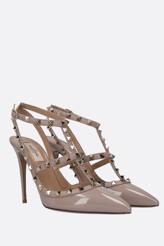 VALENTINO GARAVANI: Rockstud patent and smooth leather slingbacks Color Neutral_2