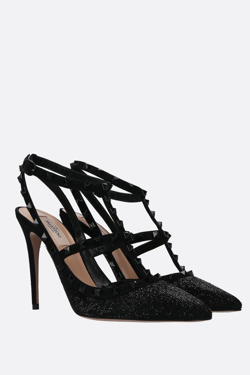 VALENTINO GARAVANI: Rockstud bead-embellished and suede slingbacks Color Black_2