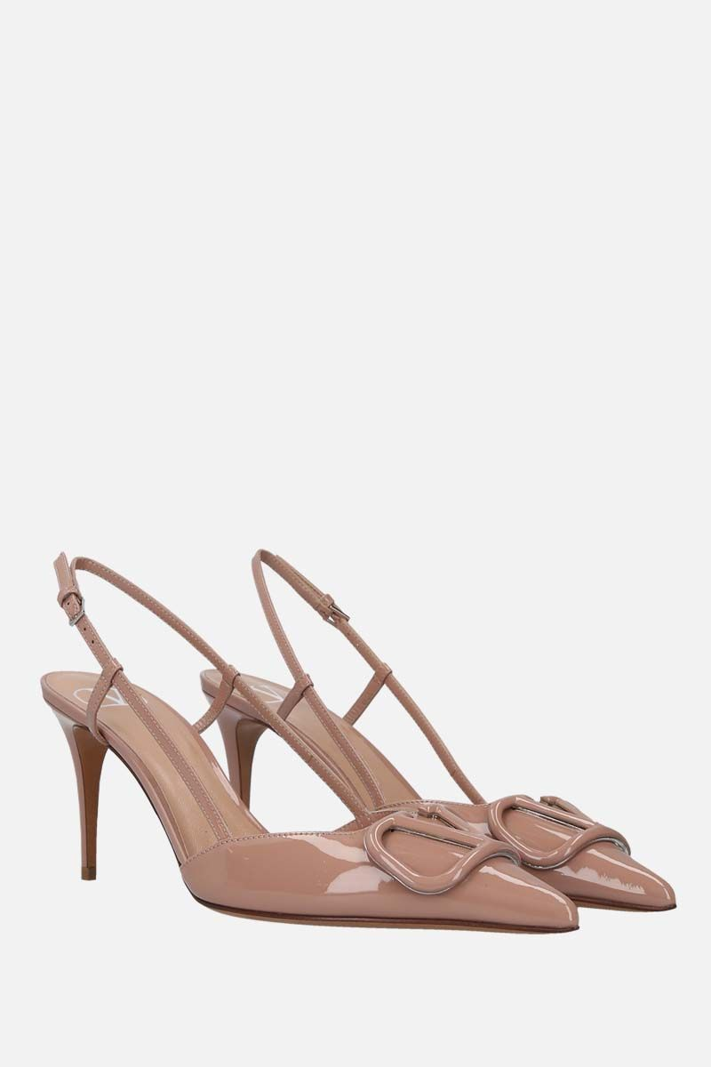 VALENTINO GARAVANI: VLOGO patent leather slingbacks Color Pink_2