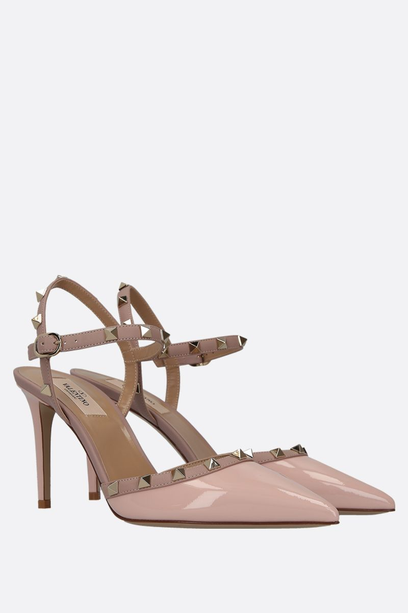 VALENTINO GARAVANI: Rockstud patent and smooth leather slingbacks_2
